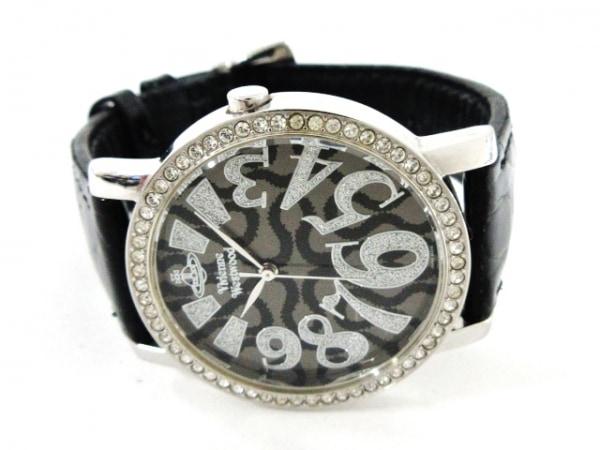 ヴィヴィアン 腕時計美品  VW-7088 レディース ラインストーンベゼル/型押し革ベルト