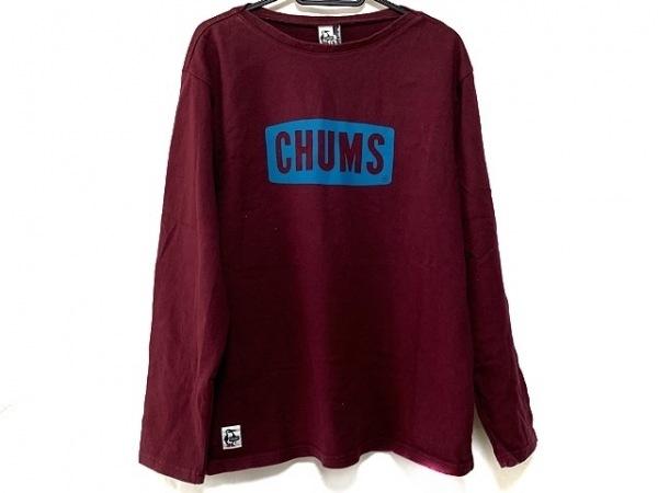 CHUMS(チャムス) 長袖カットソー サイズL メンズ美品  ボルドー×ライトブルー