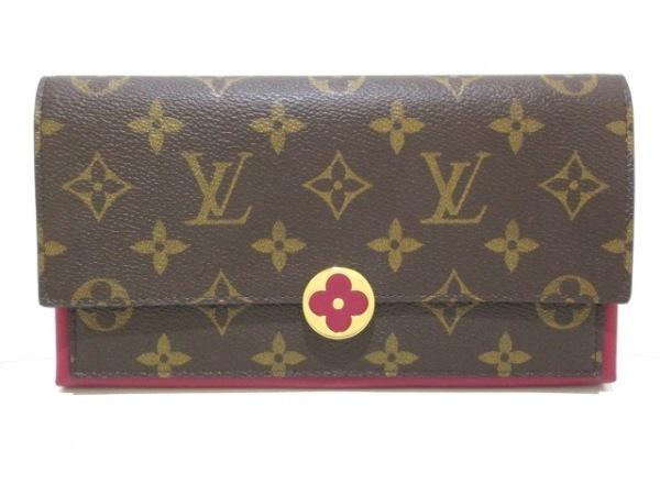 ルイヴィトン 長財布 モノグラム美品  ポルトフォイユ・フロール M64585 フューシャ