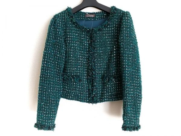 ティアクラッセ ジャケット サイズ7 S レディース - - グリーン×シルバー 長袖/ラメ