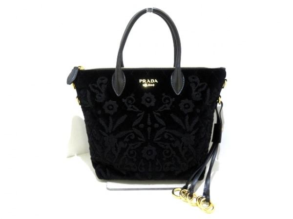 PRADA(プラダ) ハンドバッグ美品  - 1BA073 黒 刺繍 ベロア×レザー
