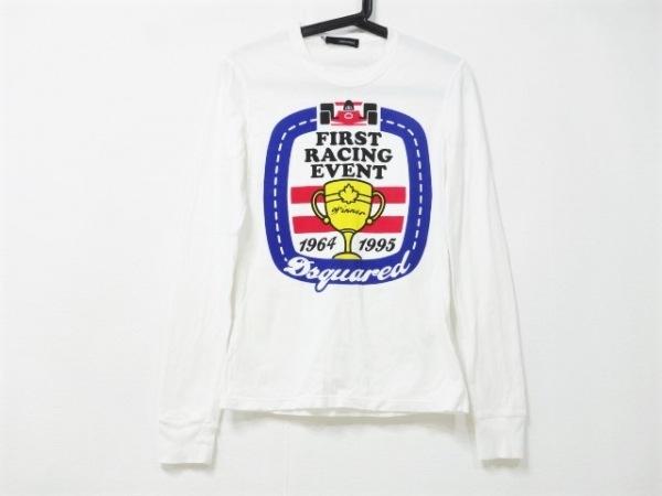 ディースクエアード 長袖Tシャツ サイズX3 レディース美品  白×マルチ ダメージ加工