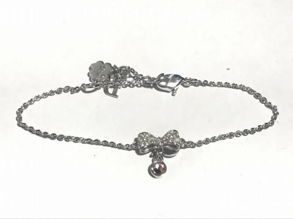 クリスチャンディオール ブレスレット美品  金属素材×ラインストーン リボン