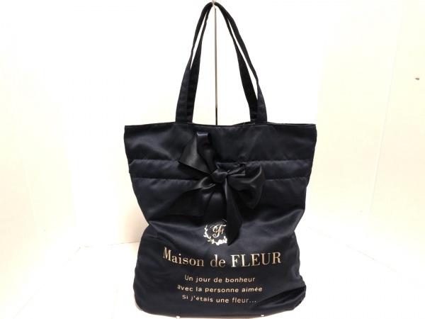 Maison de FLEUR(メゾンドフルール) トートバッグ美品  ネイビー リボン サテン