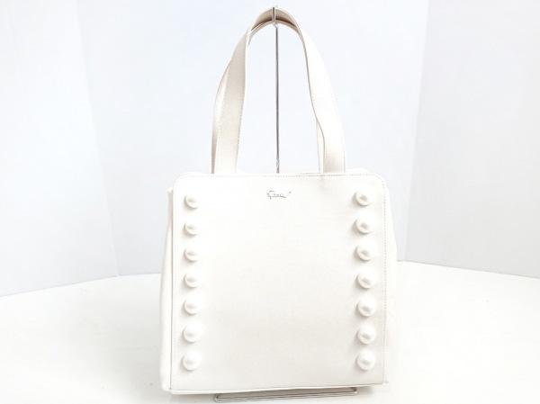 MUVEIL(ミュベール) トートバッグ美品  白 フェイクパール キャンバス