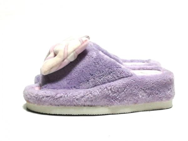 Rady(レディ) 靴 レディース美品  パープル×ピンク×アイボリー リボン/スリッパ