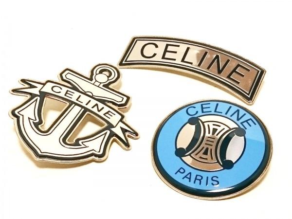 CELINE(セリーヌ) ブローチ 金属素材 シルバー×ブルー×ダークネイビー 3点セット