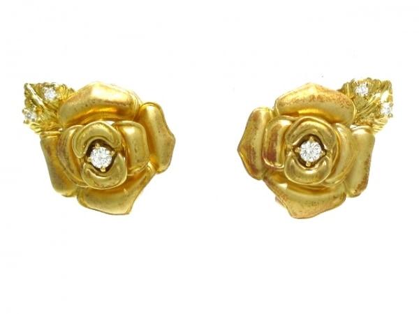ミキモト イヤリング K18YG×ダイヤモンド 3Pダイヤ/薔薇モチーフ/片側0.10ct刻印