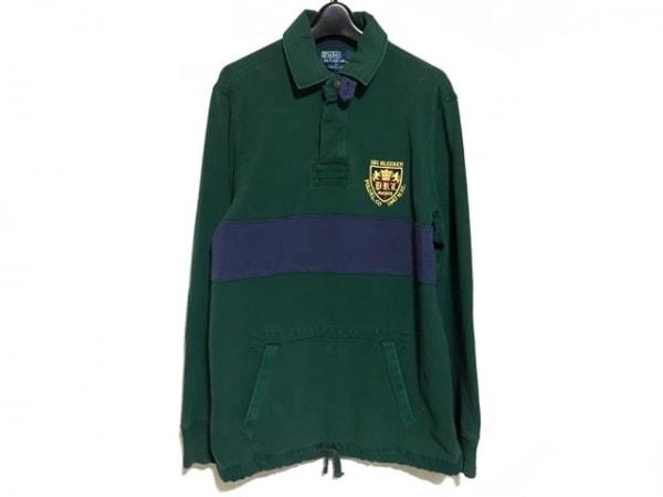 ポロラルフローレン 長袖ポロシャツ サイズM メンズ グリーン×ネイビー×マルチ