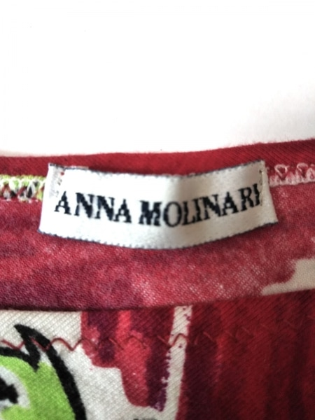 アンナモリナーリ 半袖カットソー サイズI  38 レディース美品  レッド×マルチ