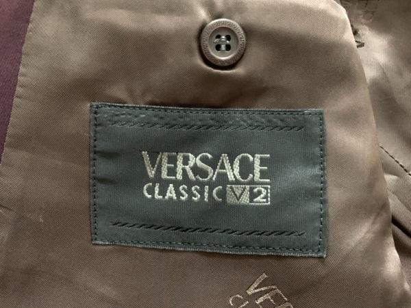 ヴェルサーチクラシック シングルスーツ サイズ5 XL メンズ美品  ボルドー V2