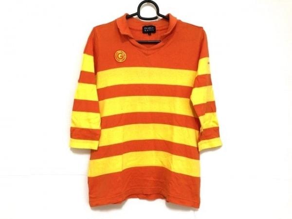 パーリーゲイツ 七分袖カットソー サイズ0 XS レディース オレンジ×イエロー