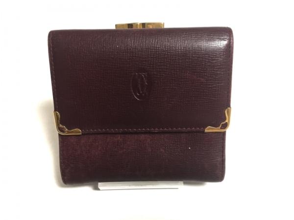 カルティエ 3つ折り財布 マストライン ボルドー×ゴールド がま口 レザー×金属素材