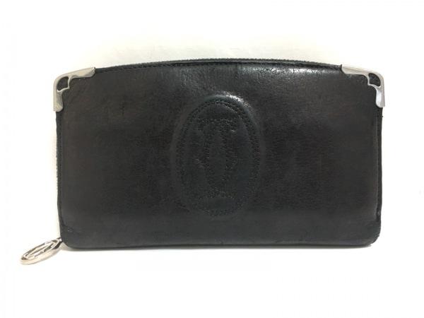 カルティエ 長財布 カボション - 黒×シルバー ラウンドファスナー レザー×金属素材