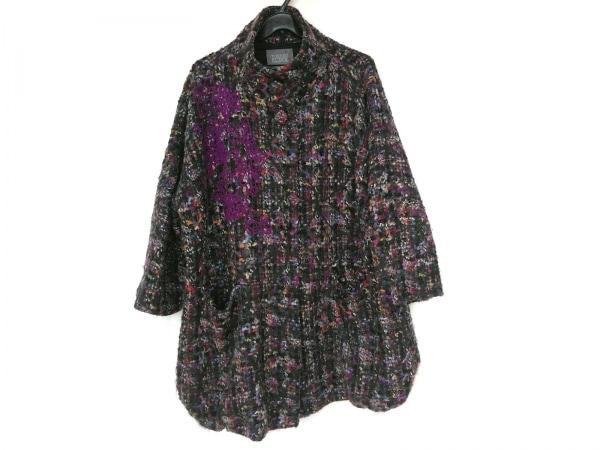 トクコ・プルミエヴォル コート サイズ9 M レディース新品同様  黒×マルチ 冬物