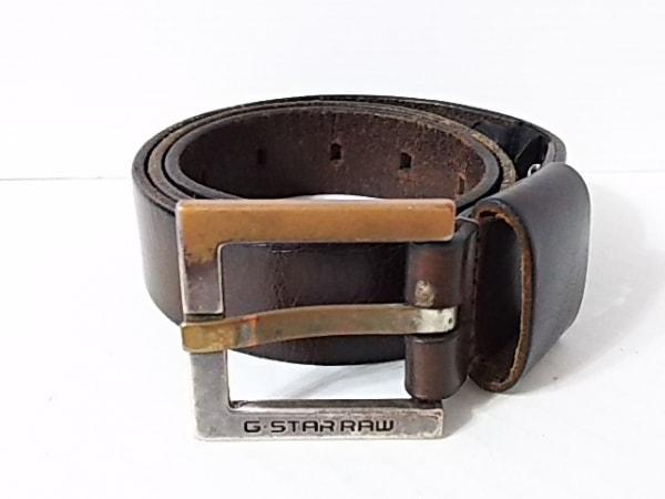 ジースターロゥ ベルト 95/34 ダークブラウン×シルバー レザー×金属素材