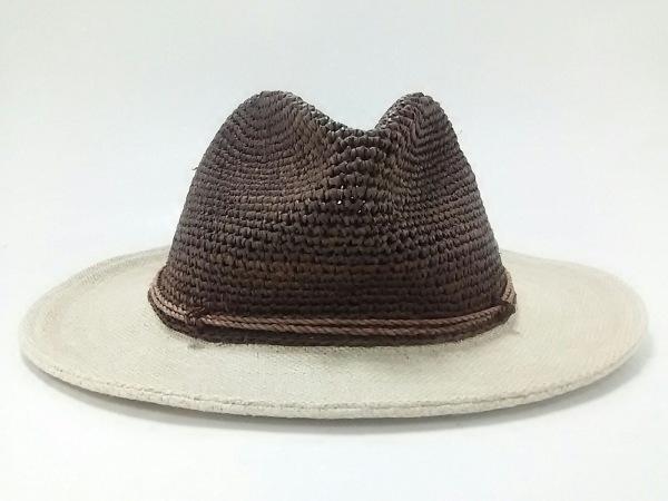 HELEN KAMINSKI(ヘレンカミンスキー) ハット 57.5cm ブラウン×ベージュ ラフィア×麻