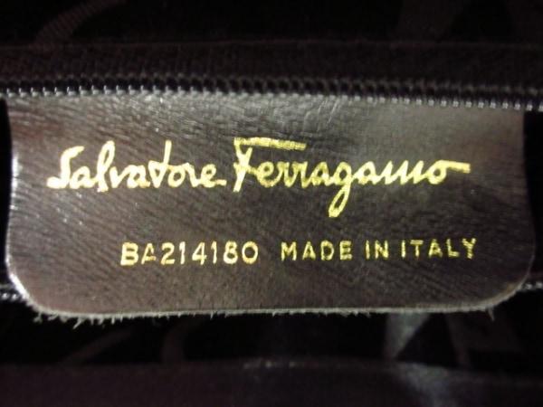 サルバトーレフェラガモ ハンドバッグ ヴァラ 黒 ナイロン×化学繊維