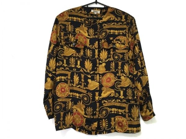 HERNO(ヘルノ) 長袖シャツブラウス サイズ42 M レディース美品  黒×ゴールド×レッド