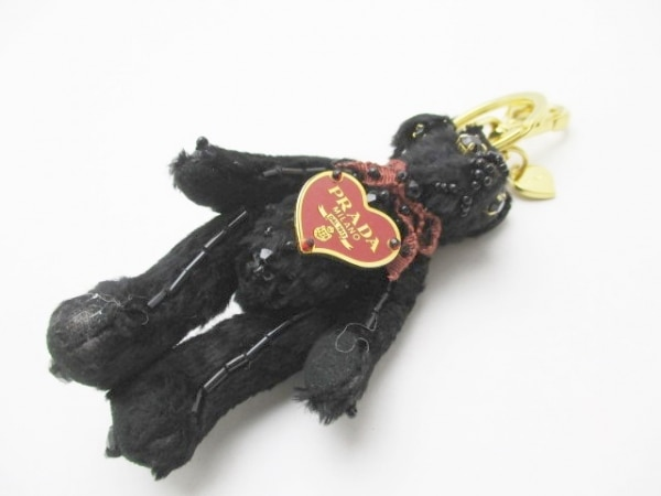 PRADA(プラダ) キーホルダー(チャーム) 黒×ゴールド×レッド クマ/ハート