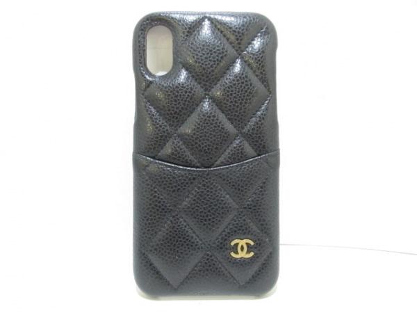 CHANEL(シャネル) 携帯電話ケース美品  マトラッセ 黒 キャビアスキン