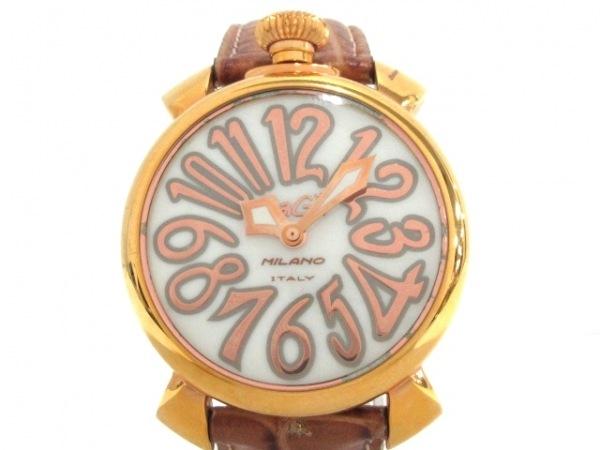 GAGA MILANO(ガガミラノ) 腕時計 マヌアーレ40 - レディース 型押し革ベルト 白