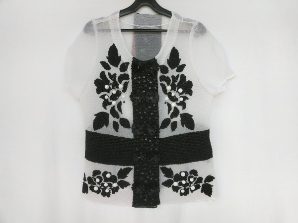 NOKO OHNO(ノコオーノ) 半袖カットソー サイズ42 L レディース新品同様  白×黒