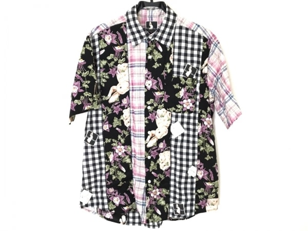 カールヘルム 半袖シャツ サイズM メンズ 黒×白×マルチ チェック柄/花柄