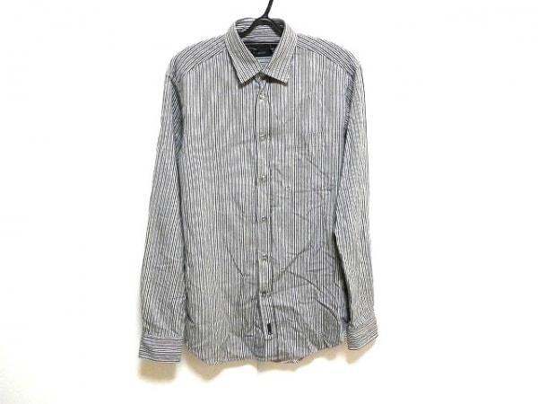 ゼニア 長袖シャツ サイズXS メンズ ダークグレー×アイボリー ストライプ