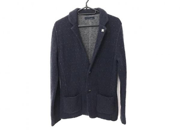 ラルディーニ ジャケット サイズXS メンズ美品  ネイビー×グレー ニット/ドット柄