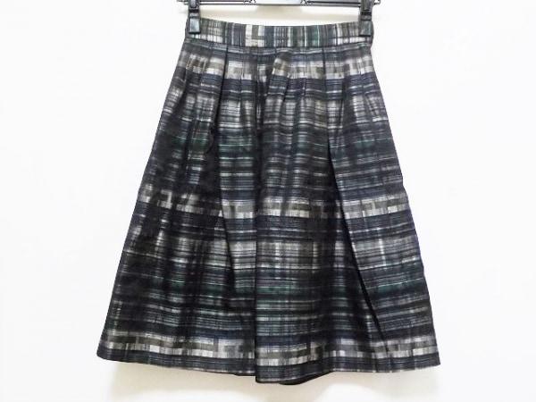 オースチンリード スカート サイズ36 M レディース美品  黒×ダークグリーン×マルチ