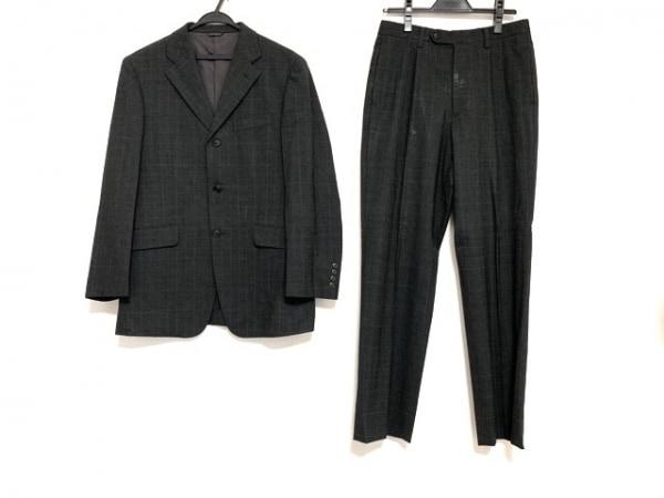 ジュンメン シングルスーツ サイズM メンズ ダークグレー 肩パッド/チェック柄