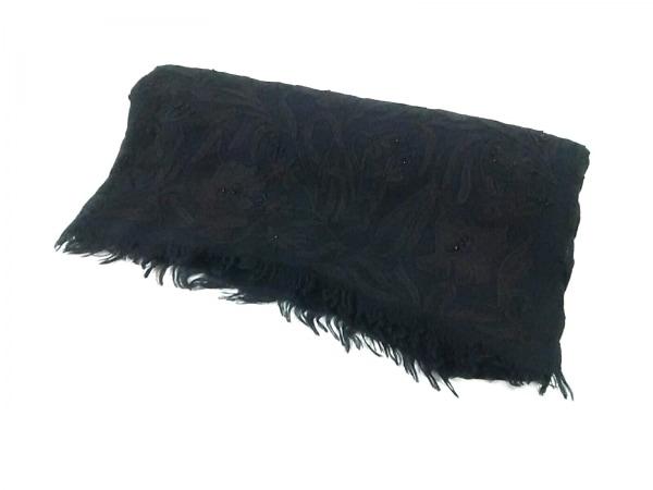 グレースコンチネンタル ストール(ショール) F美品  黒 ビーズ ウール×シルク