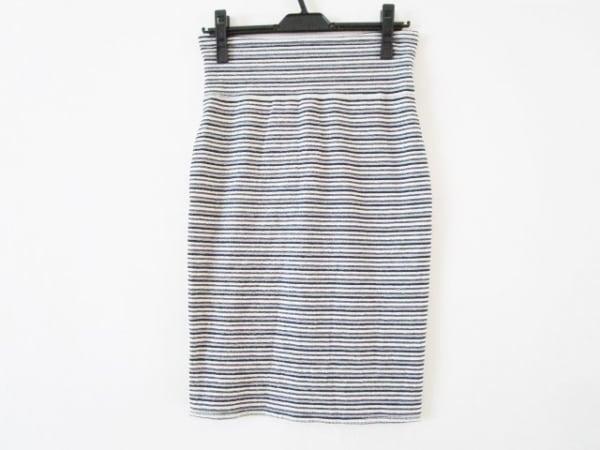 スリードッツ スカート サイズS レディース美品  白×ネイビー×ライトグレー