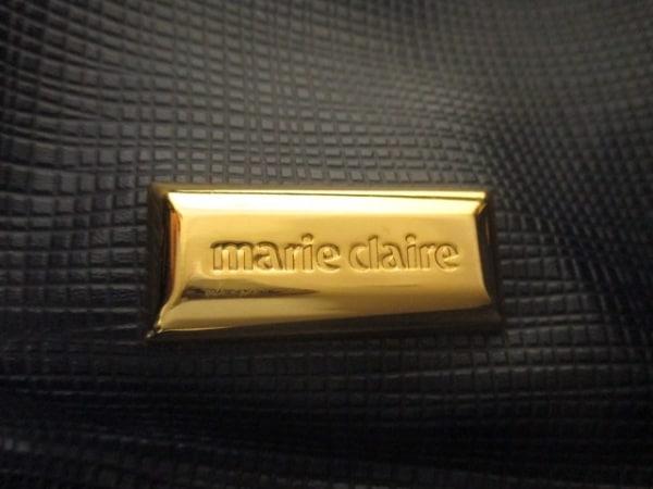 マリクレール ボストンバッグ ネイビー×ゴールド 型押し加工 レザー×金属素材