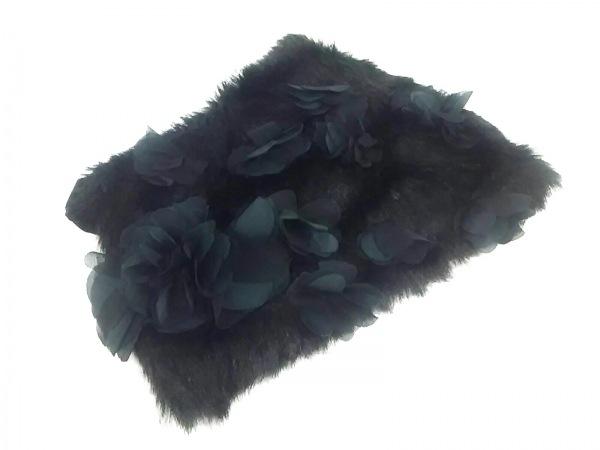 potechino(ポテチーノ) マフラー美品  黒 フラワー/ティペット パイル×アクリル