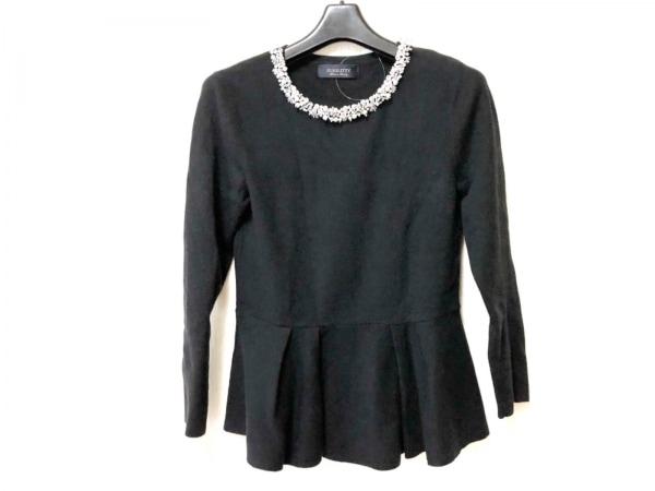 JUSGLITTY(ジャスグリッティー) 長袖セーター サイズ2 M レディース 黒×白 ビジュー