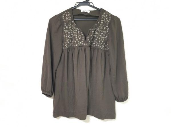 ジユウク 長袖カットソー サイズ38 M レディース美品  ダークブラウン×白 刺繍