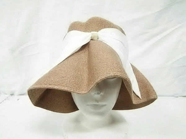 Athena(アシーナ) 帽子美品  ライトブラウン×白 リボン 指定外繊維(紙)×コットン