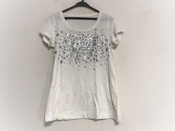 レリアン 半袖Tシャツ サイズ11 M レディース美品  白×ダークグレー×シルバー