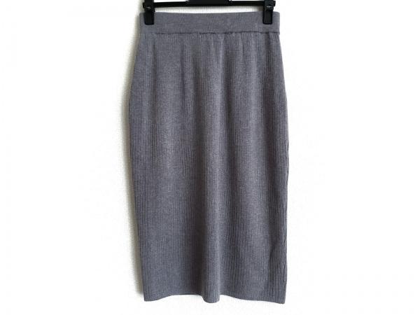 three dots(スリードッツ) スカート サイズM レディース グレー ニット