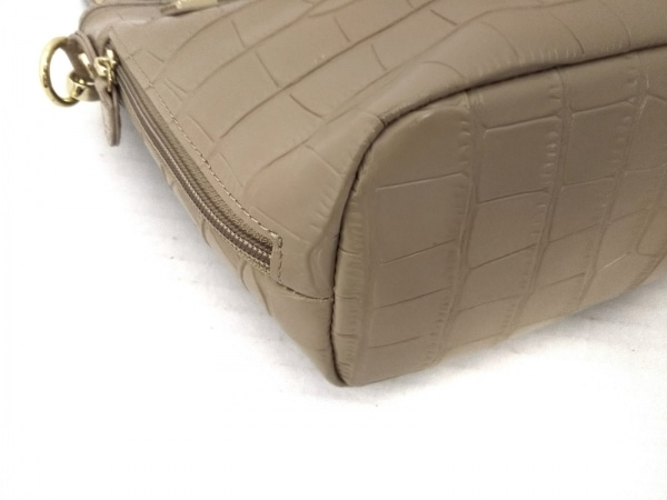 LA BAGAGERIE(ラバガジェリー) ハンドバッグ美品  ベージュ 型押し加工 レザー