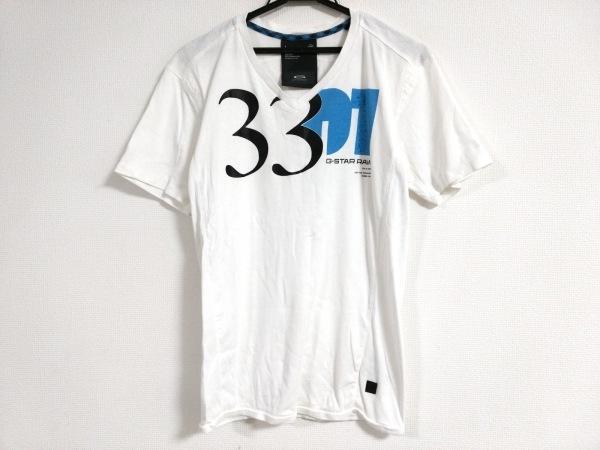 G-STAR RAW(ジースターロゥ) 半袖Tシャツ メンズ 白×黒×ライトブルー
