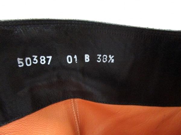 サントーニ ショートブーツ 38 1/2 レディース 黒 アウトソール張替済 レザー