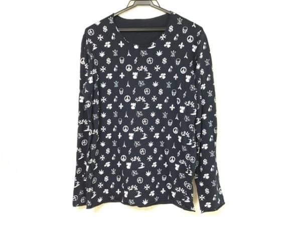 ルシアンペラフィネ 長袖Tシャツ サイズS メンズ ネイビー×白 スカル
