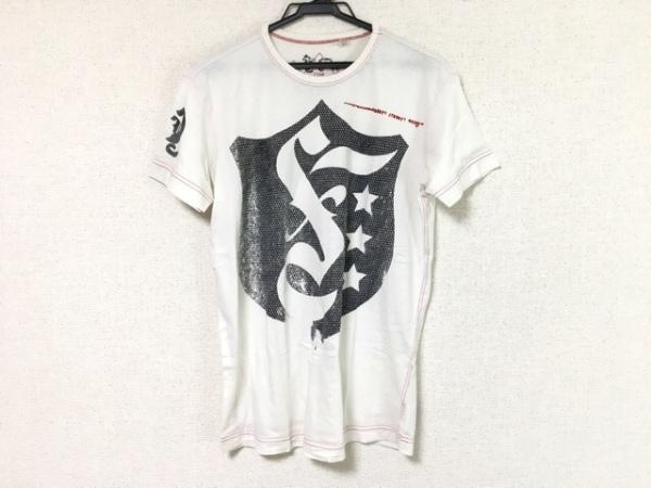 DIESEL(ディーゼル) 半袖Tシャツ サイズS メンズ 白×黒×レッド