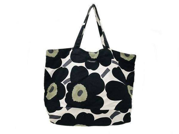 marimekko(マリメッコ) トートバッグ 黒×カーキ×白 花柄 キャンバス