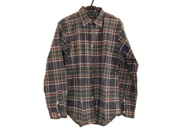 ラルフローレン 長袖シャツ サイズL メンズ グリーン×ダークネイビー×マルチ