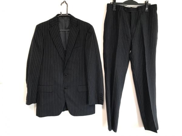 バーニーズ シングルスーツ サイズ50 メンズ ネイビー×白 ストライプ/肩パッド