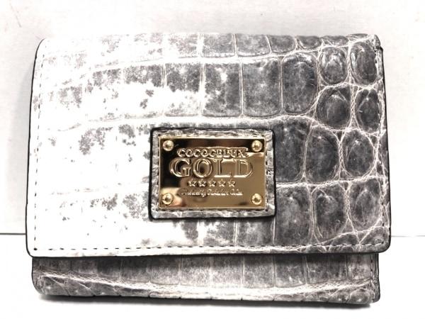 ココセリュックスゴールド 3つ折り財布新品同様  グレー×アイボリー クロコダイル